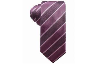 Alfani NEW Purple Hamilton Striped Slim Mens Silk Woven Skinny Neck Tie