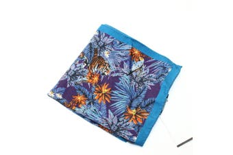 Ted Baker NEW Blue Purple Tropical Tiger 13x13 Wool Woven Pocket Square