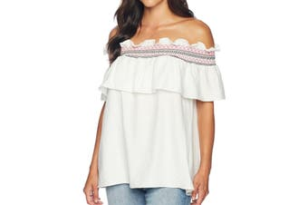 CeCe White Off-Shoulder Ruffled Smocked XS Embroidered Blouse Top