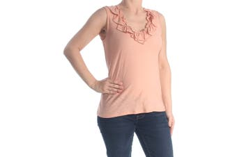 CeCe Women's Cocoa Sand Pink Size XS Ruffled V-Neck Cami Blouse