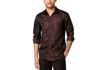 INC NEW Red Combo Black Mens Size XS Paisley Shimmer Dress Shirt