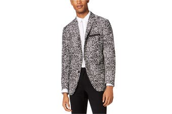 INC NEW Black Combo White Mens Size 2XL Slim Fit Two Button Blazer