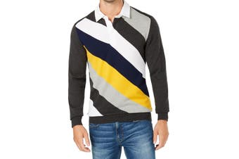 Club Room NEW Gray Mens Size Small S Colorblock Striped Polo Sweater