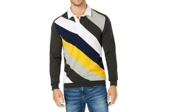 Club Room NEW Gray Yellow Mens Size Large L Striped Polo Rugby Sweater
