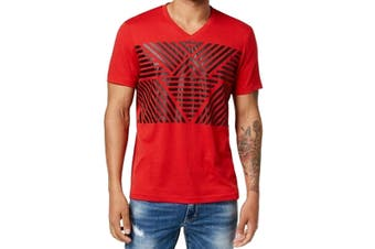 INC NEW Licorice Red Mens Size 2XL Stripe V-Neck Graphic Tee T-Shirt