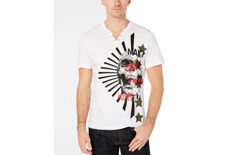 INC NEW White Mens Size 2XL Skull Print Split Neck Graphic Tee T-Shirt
