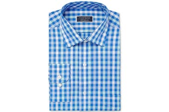 Club Room Mens Blue Size 15 1/2 Performance Regular Fit Dress Shirt
