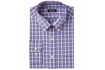 Club Room Mens Purple Size 18 Plaid Woven Button Down Dress Shirt