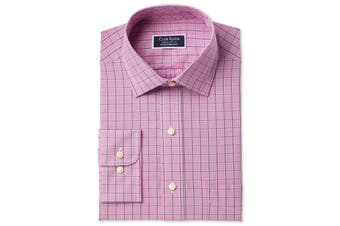 Club Room Mens Pink Size 18 Regular Fit Plaid Print Dress Shirt
