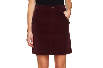 CeCe Women's Scarlet Red Size 6 Ruffled Straight Pencil Corduroy Skirt