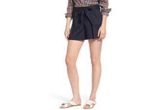 1901 NORDSTROM Women's Blue Size 8 Pleated Twill Bow Front Shorts