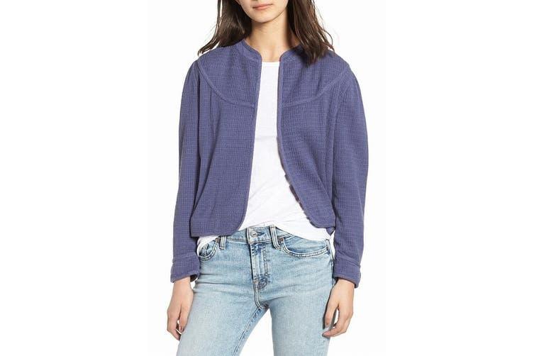 HINGE Women's Jacket Navy Blue Size XXS Jacquard Knit Open-Front