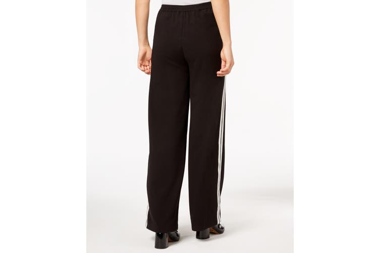 Kensie NEW Black Women's Size XS Side-Striped Wide Pants Stretch