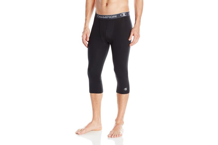 Champion Mens Activewear Leggings Black Small S Athletic 3/4 Compression #162