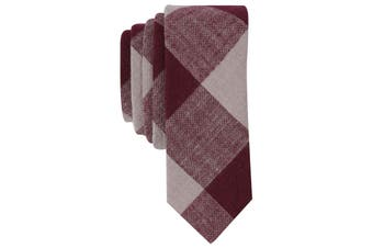 Original Penguin Men's Neck Tie Red One Size Ginty Check Linen Blend