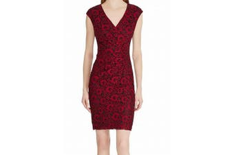 American Living Women's Dress Red Size 6 Sheath Floral Lace V-Neck