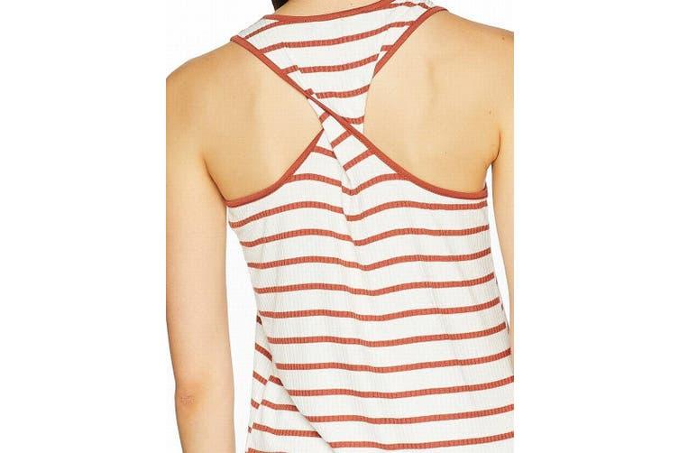 Sanctuary Women's Top White Size XS Striped Ribbed Twist Back Tank