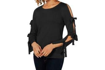 CeCe Women's Sweater Black Size XS Scoop Neck Bow Sleeve Cutout