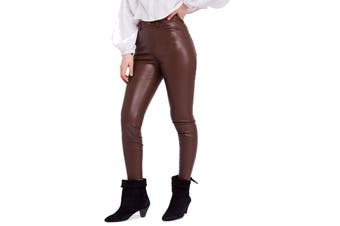 Free People Women's Pants Brown Size 27 Faux Leather Skinny High Waist