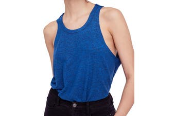 Free People Blue Fleece Women's Size Medium M Coziest Crew Tank Top