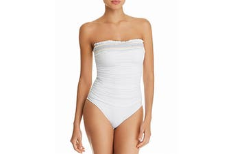 Bleu By Rod Beattie Women's Swimwear White Size 8 Smocked One-Piece