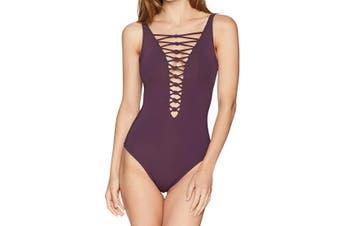 Bleu by Rod Beattie Women's Swimwear Purple Size 12 Strappy Plunge