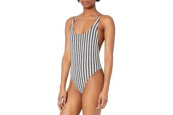 Billabong Women's Swimwear Black Size Large L Stripe Print One-Piece