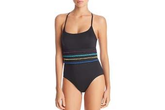 Soluna Women's Swimwear Black Size Large L Striped One-Piece Crochet