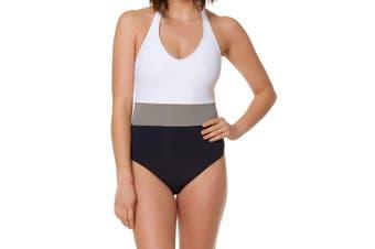 Bleu Rod Beattie Women's Swimwear White Size 12 One-Piece Colorblocked