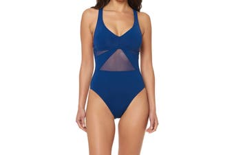 Bleu Rod Beattie Blue Women Size 6 One-Piece Strappy Mesh Swimwear