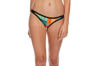 Body Glove Women's Swimwear Orange Blue Size XS Bikini Bottom Leaf Printed #424