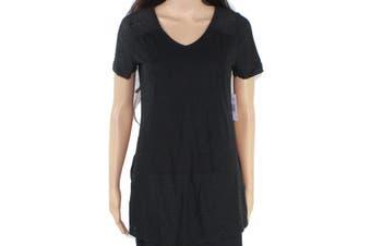 Aventura Women's Deep Black Size XS V-Neck Floral Eyelet Knit Top