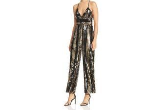 Bardot Women's Gold Size 6 Sequined V-Neck Cross Back Jumpsuit