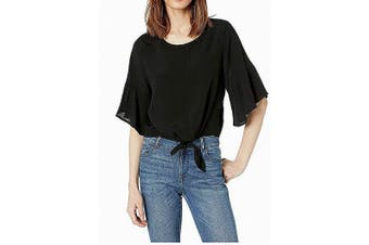 American Rose Women's Black Size Medium M Tie Front Cropped Blouse