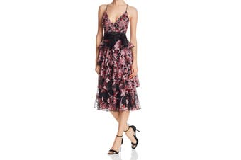 Aidan Mattox Women's Dress Black Size 4 A-Line Embroidered Lace