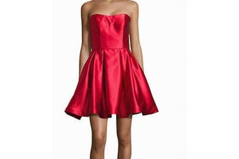 Betsy & Adam Women's Dress Red Size 6 Sheath Strapless Flare Pleated