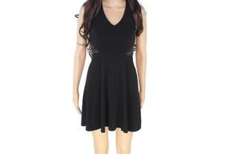 BCX Deep Black Size 1 Junior's Embellished Cross Back Sheath Dress