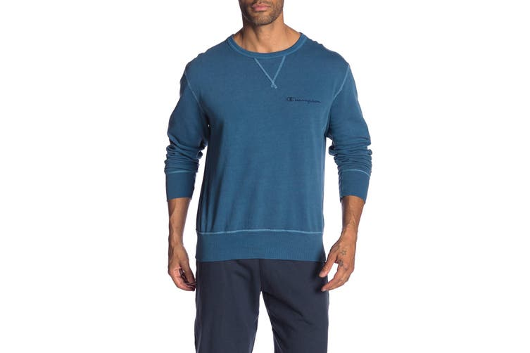 Champion Mens Sweater Blue Size Medium M Ribbed Pullover Crewneck