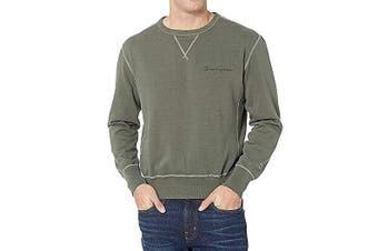 Champion Mens Sweater Green Size 2XL Pullover Seam Fleece Crewneck