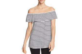 A+A Collection Top Blouse Black White Large L Off-Shoulder Striped