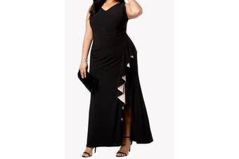 Betsy & Adam Women's Gown Black Size 18W Plus Sheath Ruffled Jersey
