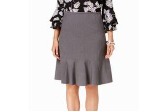 Nine West Women's Skirt Gray Size 16 A-Line Ruffle Hem Monet Garden