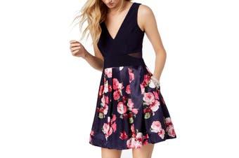 Xscape Women's Dress Blue Size 4 A-Line Floral Print Pleated V-Meck