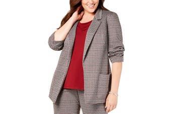 Nine West Women's Jacket Red Size 3X Plus Kiss Front Notch-Collar