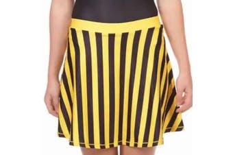 Zoozatz Women's Skirt Black Yellow Size Medium M A-Line Striped Pull-On
