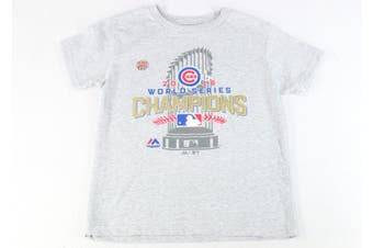 Majestic Boys T-Shirt Gray Size Large L Chicago Cubs World Series Champions #552