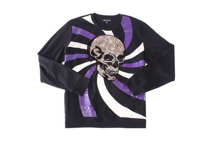 INC Mens Sweater Black Size Medium M Long Sleeve Sequin Skull Crewneck