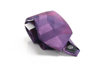 Calvin Klein Men's Neck Tie Purple One Size Macro Geo Print Silk