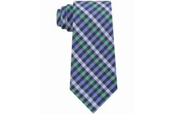 Tommy Hilfiger Men's Blue Green One Size Plaid Woven Neck Tie Silk