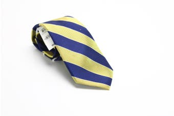 Club Room Men's Yellow Navy Blue Framed Bar Striped Neck Tie Silk